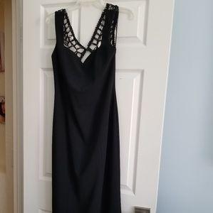 Black long dress netted back